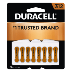 Duracell Hearing Aid Zinc-Air Batteries Size 312, Pack Of 8