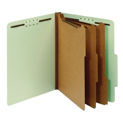 "Office Depot® Brand Pressboard Classification Folders With Fasteners, Letter Size (8-1/2"" x 11""), 3-1/2"" Expansion, 100% Recycled, Light Green, Box Of 10"