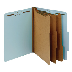 "Office Depot® Brand Pressboard Classification Folders With Fasteners, Letter Size (8-1/2"" x 11""), 3-1/2"" Expansion, 100% Recycled, Blue, Box Of 10"