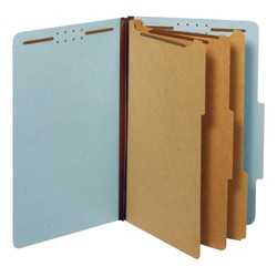 """Office Depot® Pressboard Classification Folders With Fasteners, Legal Size (8-1/2"""" x 14""""), 3-1/2"""" Expansion, 100% Recycled, Blue, Box Of 10"""