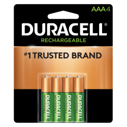 Duracell NiMH Rechargeable AAA Batteries, Pack Of 4