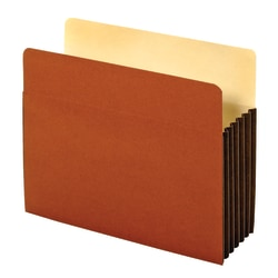 """Office Depot® Brand Heavy-Duty File Pockets, 5 1/4"""" Expansion, 8 1/2"""" x 11"""", Letter Size, 30% Recycled, Brown, Box Of 10 File Pockets"""