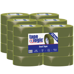 "Tape Logic® Color Duct Tape, 3"" Core, 2"" x 180', Olive Green, Case Of 24"