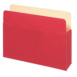 "Office Depot® Brand Color File Pockets, 3 1/2"" Expansion, 8 1/2"" x 11"", Letter Size, Red"