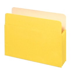"""Office Depot® Brand Color File Pockets, 3 1/2"""" Expansion, 8 1/2"""" x 11"""", Letter Size, Yellow"""