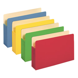 """Office Depot® Brand Color File Pockets, 3 1/2"""" Expansion, 8 1/2"""" x 14"""", Legal Size, Assorted Colors, Pack Of 5"""