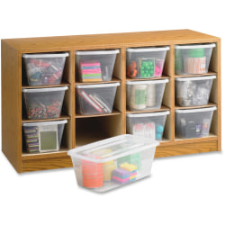 "Safco 12-Compartment Laminate Supplies Organizer, 19""H x 34""W x 13""D, Oak Finish"