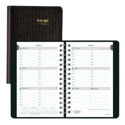 """Brownline® Ecologix® Weekly Appointment Book, 8"""" x 5"""", 100% Recycled, FSC® Certified, Black, January to December 2021"""