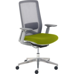 True Commercial Melbourne Mesh/Fabric Mid-Back Chair, Green/Off-White