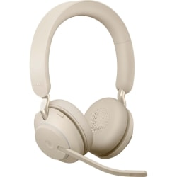 Jabra Evolve2 65 Ms Stereo Headset On Ear Bluetooth Wireless Usb C Noise Isolating Beige Office Depot