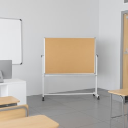 """Flash Furniture Reversible Mobile Cork Board/Non-Magnetic Dry-Erase Whiteboard With Pen Tray, 59"""" x 53"""", Aluminum Frame With Silver Finish"""