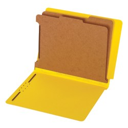 "Pendaflex® Straight-Cut End-Tab Pressboard Classification Folders, 2-1/2"" Expansion, 2 Dividers, 8 1/2"" x 11"", Letter, 60% Recycled, Yellow, Box of 10"