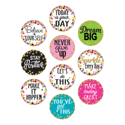 """Teacher Created Resources Decorative Accents, 6"""", Confetti Positive Sayings, Pack Of 30 Accents"""