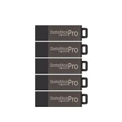 Centon DataStick Pro USB Flash Drives, USB 2.0, 4GB, Gray, Pack Of 5, S1-U2P5-4-5B