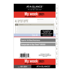 "AT-A-GLANCE® Weekly/Monthly Planner Refill, 5-1/2"" x 8-1/2"", Black/White, January To December 2021, 481-285Y"