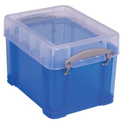 "Really Useful Box® Plastic Storage Container With Built-In Handles And Snap Lid, 3 Liters, 6 1/2"" x 7 1/4"", 9 1/2"" x 7 1/4"" x 6 1/2"", Blue"