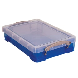 "Really Useful Box® Plastic Storage Box, 4 Liters, 14 1/2"" x 10 1/4"" x 3 1/4"", Transparent Blue"