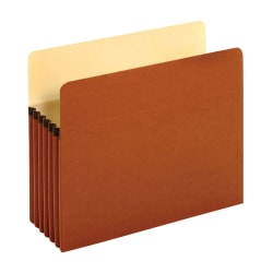 "Pendaflex® File Pockets, 5 1/4"" Expansion, Letter Size, 30% Recycled, Brown, Box Of 10 File Pockets"