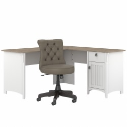"""Bush Furniture Salinas 60""""W L-Shaped Desk With Mid-Back Tufted Office Chair, Shiplap Gray/Pure White, Standard Delivery"""
