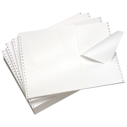 """Domtar Continuous Form Paper, Clean Edge Tri-Perforation, 14 7/8"""" x 11"""", 20 Lb, White, Carton Of 2,700 Forms"""