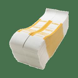 Sparco Kraft Paper ABA Bill Straps, $1,000, White/Yellow, Box Of 1,000