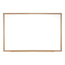 "Ghent Dry-Erase Whiteboard, Medium-Density Fiberboard, 48 1/2"" x 72 1/2"", Brown Wood Frame"