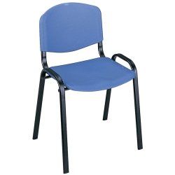 """Safco® Plastic Seat, Plastic Back Stacking Chair, 18 1/2"""" Seat Width, Blue Seat/Black Frame, Quantity: 4"""