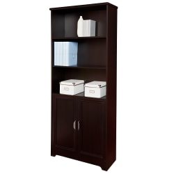 "Realspace® Magellan 72"" 5 Shelf Contemporary Bookcase with Doors, Espresso/Dark Finish, Standard Delivery"