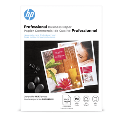 """HP Professional Business Paper for Inkjet Printers, Matte, Letter Size (8 1/2"""" x 11""""), 48 Lb, Pack Of 150 Sheets (CH016A)"""