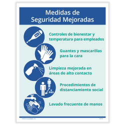 """ComplyRight™ Corona Virus And Health Safety Posters, Enhanced Safety Measures, Spanish, 10"""" x 14"""", Set Of 3 Posters"""