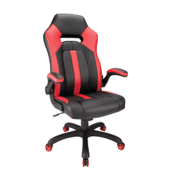 Realspace® Bonded Leather High-Back Gaming Chair, Red/Black