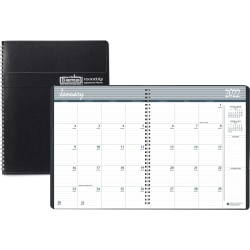 """House of Doolittle Expense Log/Memo Page Monthly Planner - Julian Dates - Monthly - 1.2 Year - December 2020 till January 2022 - 1 Month Double Page Layout - 6 7/8"""" x 8 3/4"""" Sheet Size - 1.50"""" x 1.50"""" Block - Wire Bound - Simulated Leather, Paper - Black"""