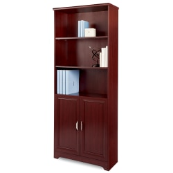 "Realspace® Magellan 72""H 5-Shelf Bookcase With Doors, Classic Cherry"
