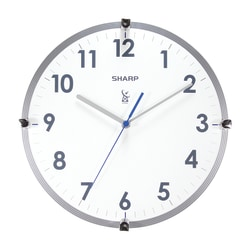 "Sharp® Atomic Round Wall Clock, 11"", White/Silver"