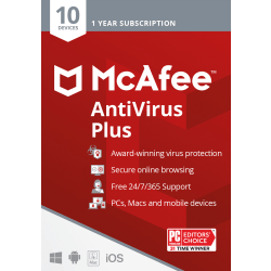 McAfee® AntiVirus Plus, For PC or Mac®, 10 Devices, 1 Year Subscription