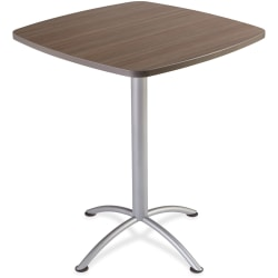 """Iceberg iLand 42""""H Square Bistro Table - Square Top - Powder Coated Silver Base - 36"""" Table Top Length x 36"""" Table Top Width x 1.13"""" Table Top Thickness - 42"""" Height - Assembly Required - Laminated, Teak - Particleboard"""