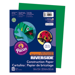 """Riverside® Groundwood Construction Paper, 100% Recycled, 9"""" x 12"""", Holiday Green, Pack Of 50"""