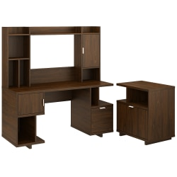 """kathy ireland® Home by Bush Furniture Madison Avenue 60""""W Computer Desk With Hutch And Lateral File Cabinet, Modern Walnut, Standard Delivery"""