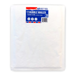 """United State Postal Service #2 Bubble Mailers, 12"""" x 8-1/2"""", White/Red/Blue, Pack Of 60 Mailers"""