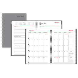 """Office Depot® Weekly/Monthly Academic Planner, 5"""" x 8"""", 30% Recycled, Gray, July 2020 to June 2021"""