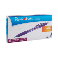 Paper Mate® Profile™ Retractable Ballpoint Pens, Bold Point, 1.4 mm, Translucent Purple Barrel, Purple Ink, Pack Of 12