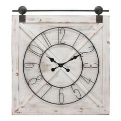 FirsTime & Co.® Farmstead Barn Door Wall Clock, Whitewash/Metallic Gray/Black