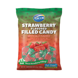 Arcor Assorted Hard Candy, Strawberry-Filled, 5 Lb Bag