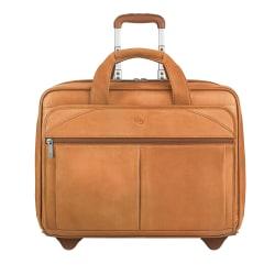 "Solo® Walker Leather Rolling Case for 15.6"" Laptops, Tan"