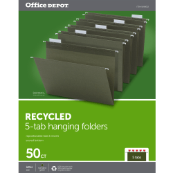 Office Depot® Brand Hanging Folders, 1/5 Cut, Letter Size, 100% Recycled, Green, Pack of 50