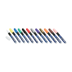 SKILCRAFT® Oil-Based Paint Markers, Fiber Bullet Point, Assorted Colors, Pack Of 12 (AbilityOne 7520-01-207-4168)