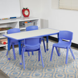 """Flash Furniture Rectangular Plastic Height-Adjustable Activity Table Set With 4 Chairs, 23-1/2""""H x 23-5/8""""W x 47-1/4""""D, Blue"""