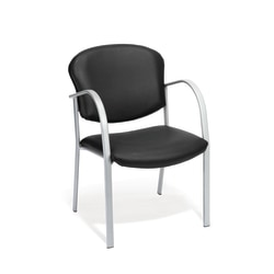 OFM Danbelle Series Anti-Bacterial Contract Reception Chair, Black/Silver