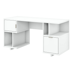 """kathy ireland® Home by Bush Furniture Madison Avenue 60""""W Computer Desk With Drawer/Storage Shelves/Door, Pure White, Standard Delivery"""