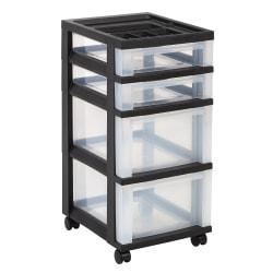"Office Depot® Brand Plastic Storage Cart, 4 Drawers, 26 7/16""H x 12 1/16""W x 14 1/4""D, Black"